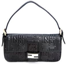 Fendi Black Embossed Nappa Leather Baguette Bag