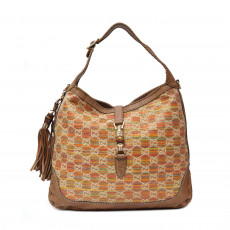 Gucci Woven Canvas Bamboo New Jackie Large Shoulder Bag 01