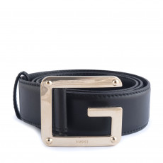 Gucci Black Leather G Buckle Belt 01