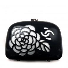 Chanel Black Resin Camellia Clutch Evening Bag 01