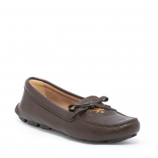 Prada Pebbled Leather Bow Loafers 01