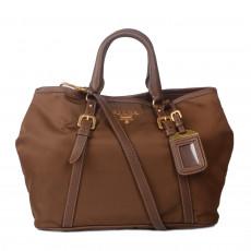 Prada Brown Tessuto & Leather Satchel 01