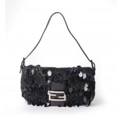 Fendi Black Paillettes Baguette Bag1