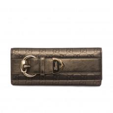 Gucci Metallic Gunmetal Monogram Leather Romy Clutch 1