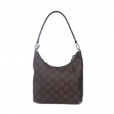 Gucci Dark Brown Monogram Nylon Shoulder Bag 01