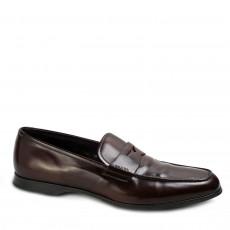 Prada Walnut Leather Penny Loafers 01
