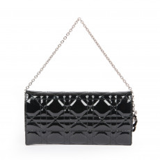 Christian Dior Black Cannage Leather Wallet on Chain