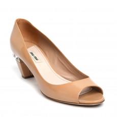 Miu Miu Beige Patent Leather Crystal Embellished Heel Peep Toe Pumps 01