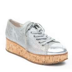 Prada Sport Silver Glittered Cap Toe Cork Platform Sneakers 01