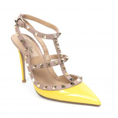 Valentino Yellow/Nude Patent Leather Rockstud T-Strap Pumps 01