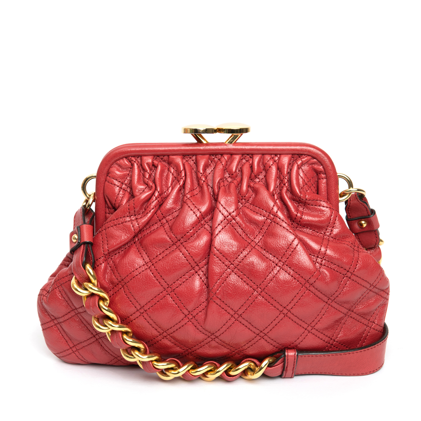 Marc Jacobs Red Quilted Leather Mini Stam Shoulder Bag 01