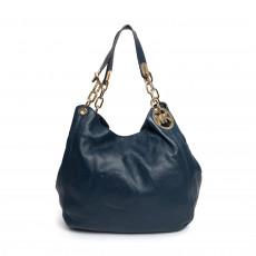 Michael Kors Fulton Blue Leather Large Shoulder Bag