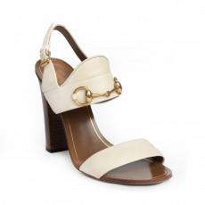 Gucci Cream Leather Horsebit Ankle Strap Sandals 01
