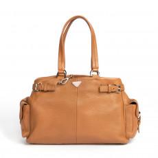 Prada Brown Leather Vitello Daino Shoulder Bag, Camello 01