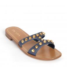 Prada Blue Leather Studded Flat Slide Sandals 01