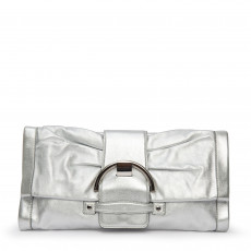 Sergio Rossi Metallic Silver Leather Envelope Clutch 03