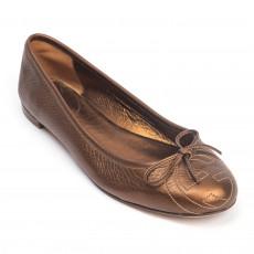 Gucci Bronze Leather GG Interlocking Bow Ballet Flats, 01