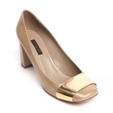 Louis Vuitton Beige Patent Leather Block Heel Pumps 01