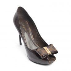 Louis Vuitton Damier Ebene Patent Leather Valentine Peep Toe Pumps (01)
