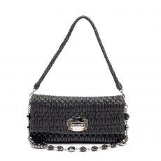Miu Miu Black Matelassé Leather Crystal Flap Shoulder Bag  (01)