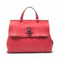 Gucci Red Leather Bamboo Daily Medium Top Handle Bag (01)