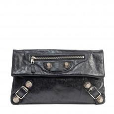 Balenciaga Black Lambskin Leather Giant 21 Silver Envelope Clutch Bag (01)