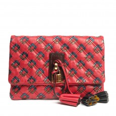 Marc Jacobs Red Quilted Leather Tassel Padlock Clutch (01)