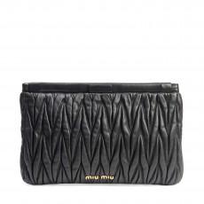 Miu Miu Black Matelasse Frame Clutch Bag (01)