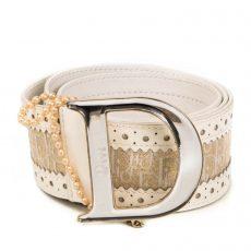 VINTAGE Dior Pink Monogram Logo Chain Waist Belt (01)