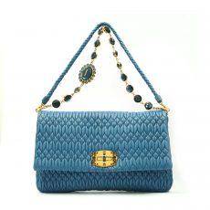 Miu Miu Blue Matelassé Leather Crystal Flap Shoulder Bag