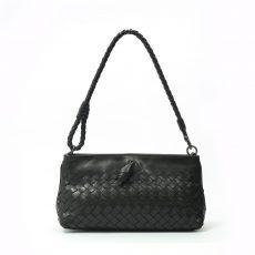 BottegaVeneta Ebony Intrecciato Woven Leather Frame Pochette Bag (05)