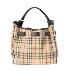 Burberry Haymarket Check Canvas Belted Medium Hobo Bag (02)