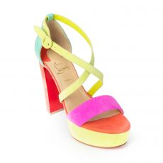 Christian Louboutin Loubi Bee Alta Colorblock Suede Platform Sandals