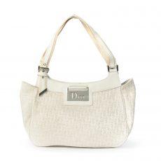 Christian Dior White Diorissimo Canvas Small Tote Bag