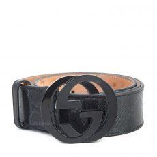 Gucci Black GG Imprime Interlocking G Belt