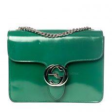 Gucci Green Polished Calfskin Leather Interlocking G Shoulder Bag