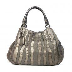 Prada Grey Tessuto Nylon and Metallic Silver Nappa Leather Stripes Bag