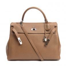 Hermes 32cm Clemence Leather Palladium Plated Kelly Retourne Bag
