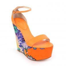 Roberto Cavalli Orange Floral Printed Satin and Leather Wedges
