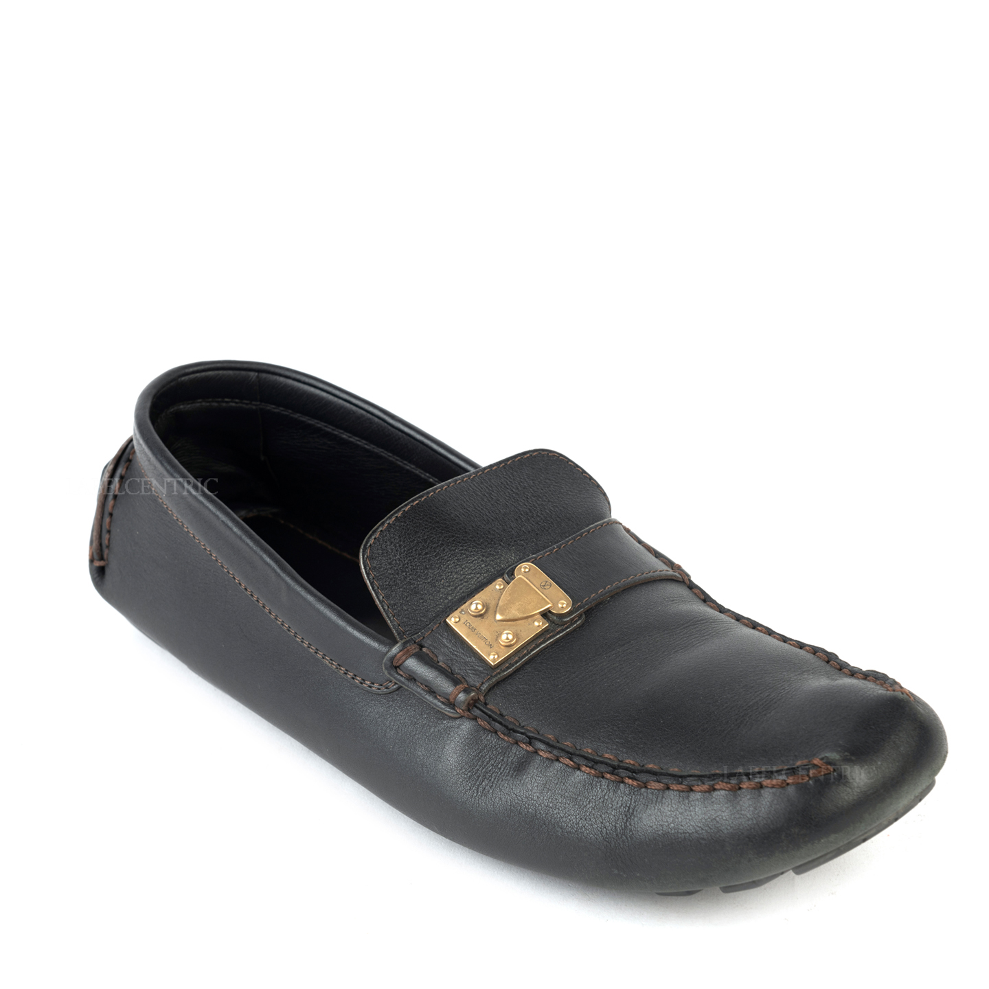 Louis Vuitton Black Leather Lombok Driving Loafers