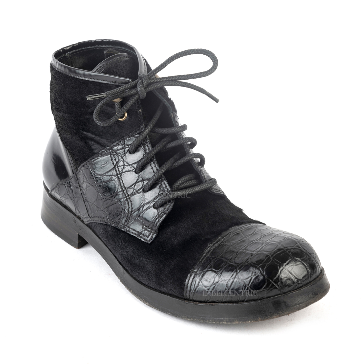Dolce & Gabbana Pony Hair and Leather Lace-up Ankle Boots