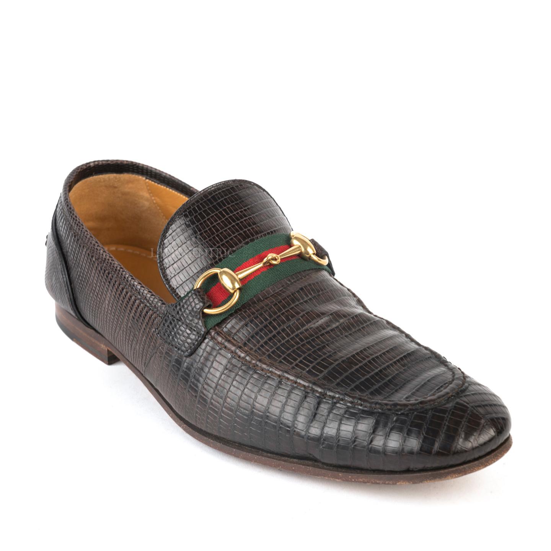Gucci Dark Brown Elanor Lizard Horsebit Loafers