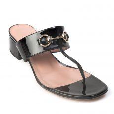 Gucci Black Liliane Patent Horsebit Thong Sandal