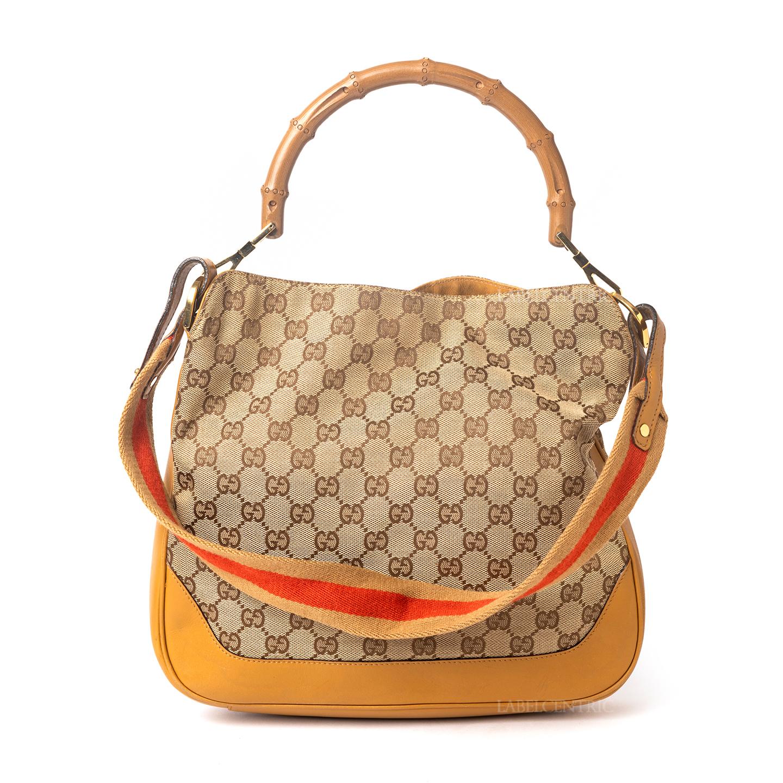 VINTAGE Gucci GG Canvas Bamboo Handle 2way Bag